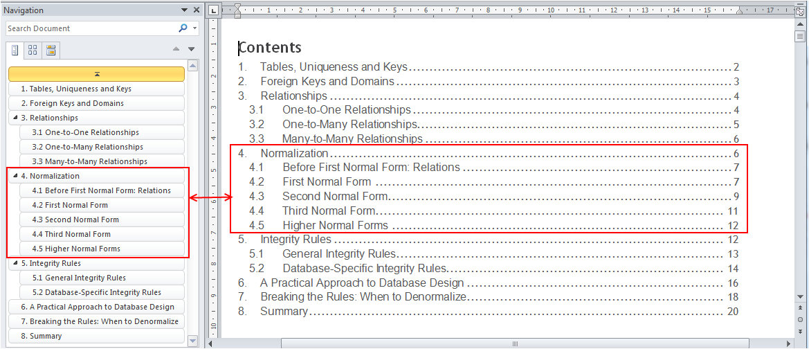 Navigation pane in word 2010 your content guide the for Table of contents template word 2010